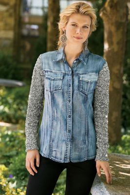 Have It Both Ways Top - Sequined Denim Shirt, Denim And Tweed Shirt | Soft Surroundings