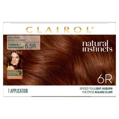 Natural Instincts Clairol Demi Permanent Hair Color 6r Light Auburn Spiced Tea 1 Kit Clairol Natural Instincts Clairol Natural Types Of Brown Hair