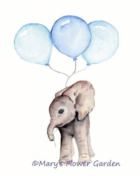 Impression D Elephant Avec Pepiniere Ballons Bleus Vertical Tirage