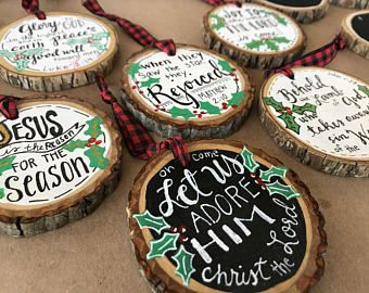 Christian Faith Wood Sliced Ornament Scripture Personalized Gift Rustic Wood Slice Bible Verse Weddin Chalkboard Ornament Christmas Wood Christian Ornaments