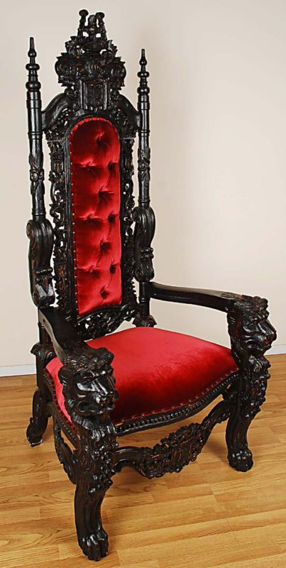 Carved Mahogany Lion Head Gothic Throne Chair - King Black Finish w/ Red Velvet | eBay I have this chair in carved mahagony wood and wine colored leather...
