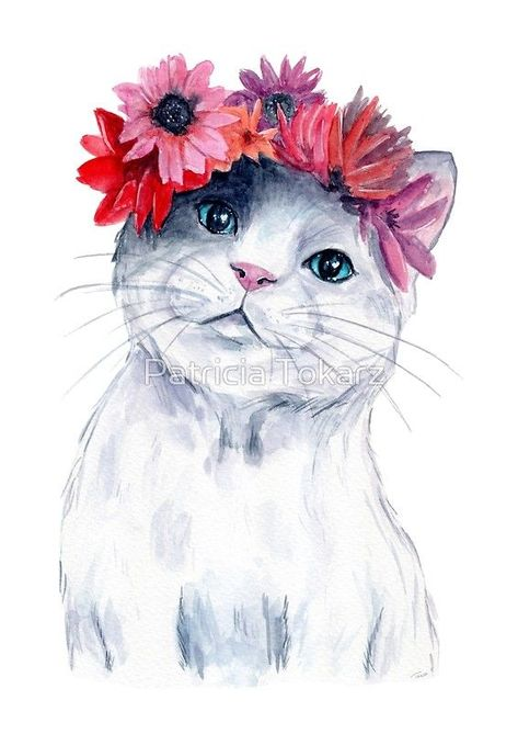 #cute #cat with #flowercrown || by PattokArts | @Patti2905  #catlover #crazycatlady #animal #pet #blueeyes #watercolor #painting #illustration