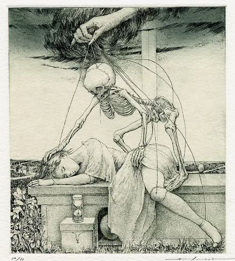 The fascinating Ex Libris book-plate illustration by unknown Japanese artist Alphonse Inoue creepy Ex Libris, Arte Horror, Horror Art, La Danse Macabre, Macabre Art, Art Noir, Dance Of Death, Arte Obscura, Drawn Art