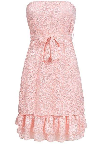Styleboom Fashion Damen Mini Bandeau Kleid Spitze Allover Bindegurtel 2 Lagig Rosa Art Nr 17076186 Kleid Spitze Bandeau Kleid Modestil