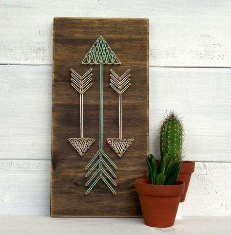 Flèches minis chaîne Art signe, signe de flèche, flèches, panneau en bois