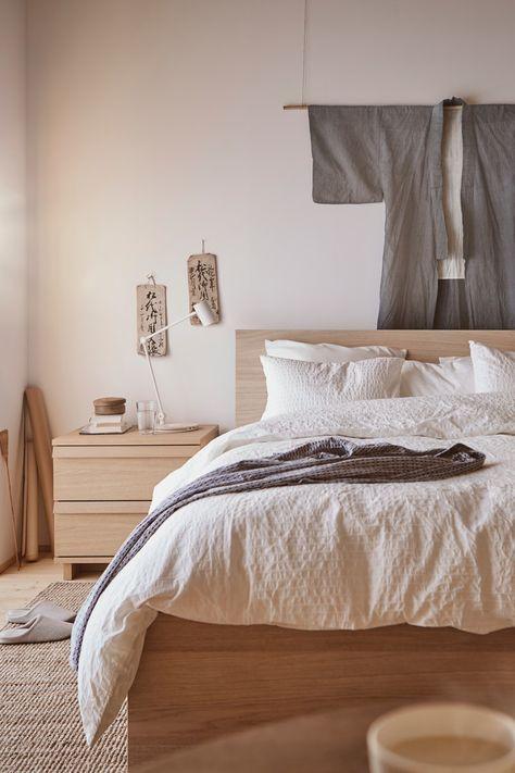 Malm Bettgestell Hoch Eichenfurnier Weiss Lasiert Ikea Deutschland Ikea Malm Bett Schlafzimmer Einrichten Und Bettgestell