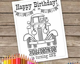 Little Blue Truck Digital Birthday Coloring Pages Personalized