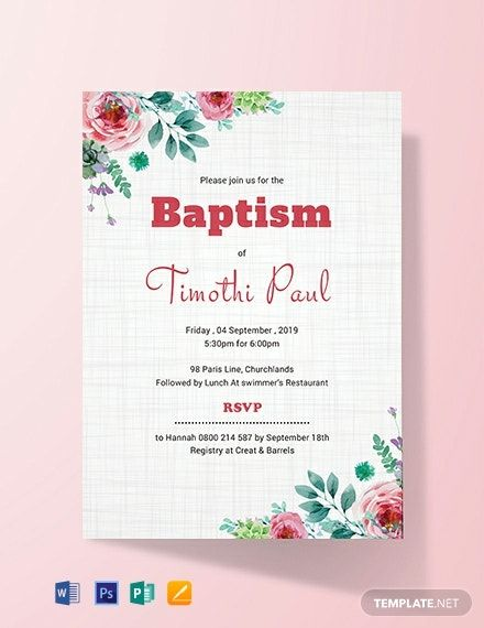 Simple Baptism Invitation Card Template Free Jpg Word Apple Pages Psd Publisher Template Net Invitation Card Format Invitation Template Baptism Invitations
