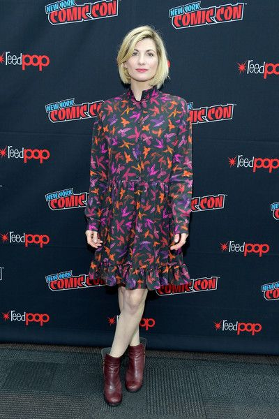 Jodie Whittaker attends the 'Doctor Who' Press Room during 2018 New York Comic Con - Day 4.