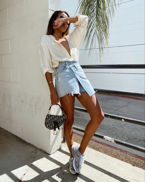 Sincerely Jules style • wearing denim skirt with New Balance sneakers