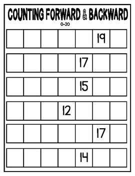 Counting Forward Backward Worksheets Differentiated 0 10 0 20