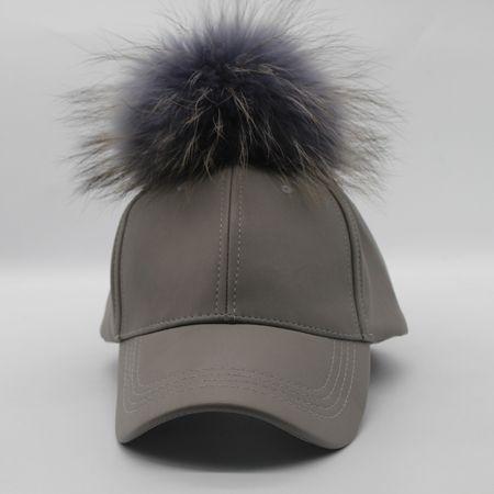 f0fea4bf65c90 2016 Winter Real Raccoon Fur Pompoms Hat Hip Hop PU Leather Baseball Cap  Women Fur Pom