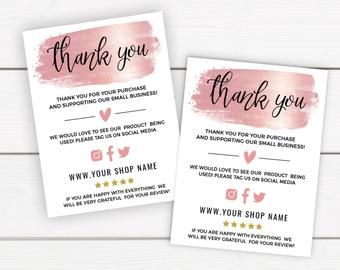 Rose Gold Business Thank You Card Template Thank You For Your Order Cards Template Small Business Online Business Thank You Package Insert In 2021 Thank You Card Template Personalized Thank You