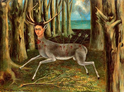 The Wounded Deer. 1946   Frida expresses the disappointment which followed the operation on her spine in New York.