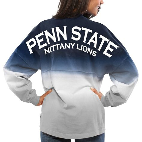 Women's Navy Penn State Nittany Lions Ombre Long Sleeve Dip-Dyed Spirit Jersey, Size: Medium, PST Blue