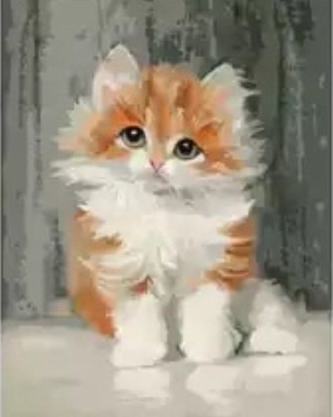 Paint by Number Kit - Fluffy Orange and White Kitten. DIY.  Fast Shipping! by OurPaintAddictions