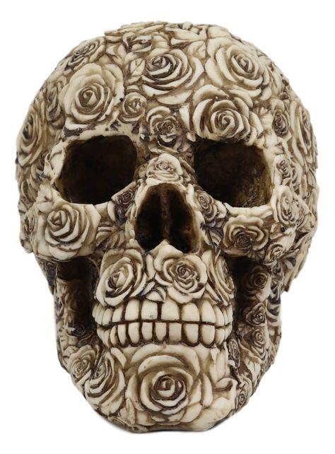 Ebros Tooled Ornate Floral Skull Figurine DOD Rose Sugar Skulls Statue 6.5