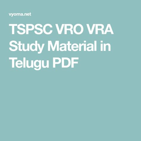 Tspsc Group 2 Study Material Pdf