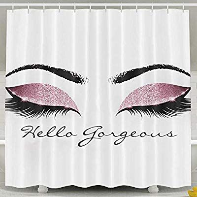 Toniccn Hello Gorgeous Eyelash Shower Curtain Water Repellent