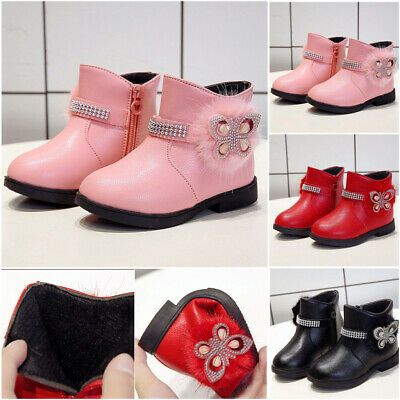 Toddler Infant Kids Girsl Baby Princess High Top Shoes Winter Leather Long Boots