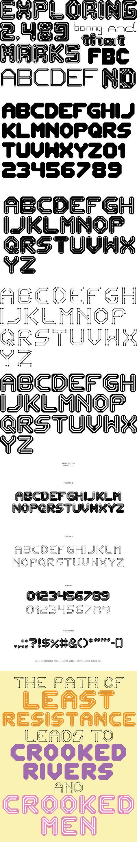 Ariel Cotton Graphic-design Typography Circuit-typeface   Canvas ...