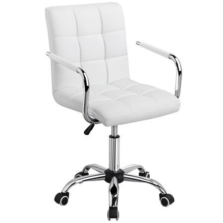 Modern Leather Swivel Executive Office Chair White Walmart Com In 2020 White Desk Chair No Wheels Stylish Office Chairs White Desk Chair