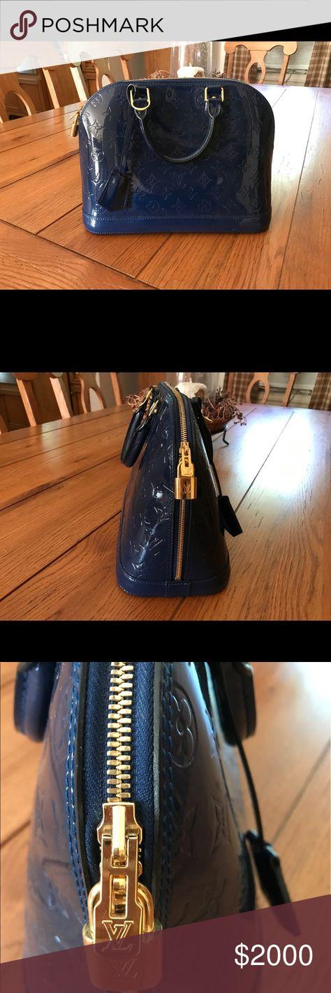 Louis Vuitton Alma Monogram Vernis Bleu Nuit Brand new comes with Lock    Keys 04eedc717f5