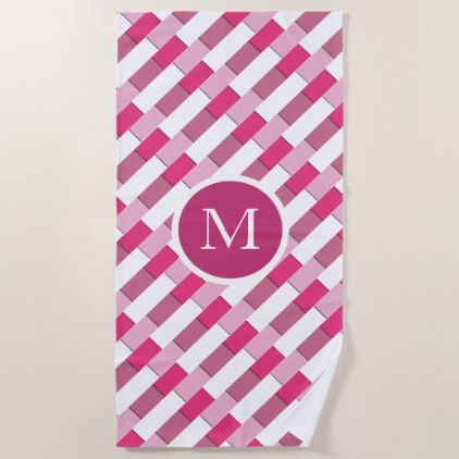 Chic Stylish Pink White Pattern Beach Towel Zazzle Com