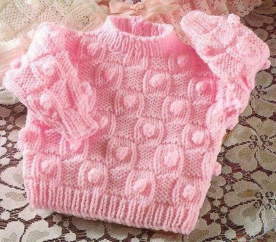 """Aran Basketweave /& Bobble Baby Cardigans /& Sweater 16/"""" 22/"""" Knitting Pattern"""