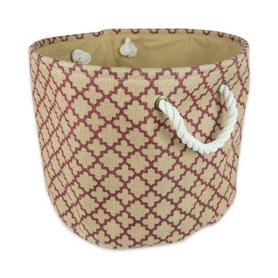 Three Posts Lattice Round Fabric Bin Size 12 H X 15 W X 15 D Color Wine Fabric Bins Decorative Storage Bins Fabric Storage Bins
