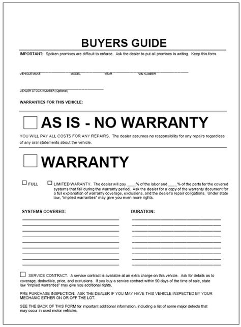 This form, by law, is to be displayed on any vehicle that is sold - background check authorization form