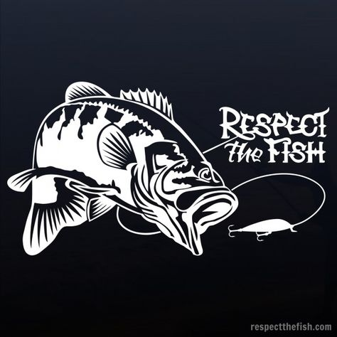 Largemouth Bass window sticker in white. Professional grade outdoor vinyl decal. Over 40 fish designs available at respectthefish.com.