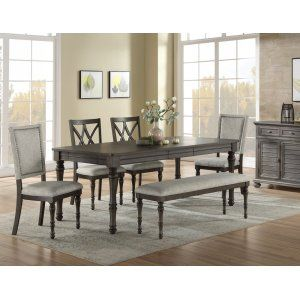 This Linnett 7 Pc Set From Steve Silver Takes Traditional Dining Styling And Adds A Modern Twist T Round Dining Room Sets Round Dining Room Traditional Dining