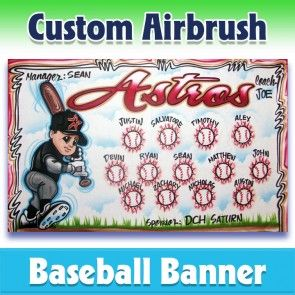 Airbrush Astros Baseball Team Banner 1021 Our Artist Will Use This Sample As A Reference But Will Incorporate Your In 2020 Baseball Banner Team Banner League Banners
