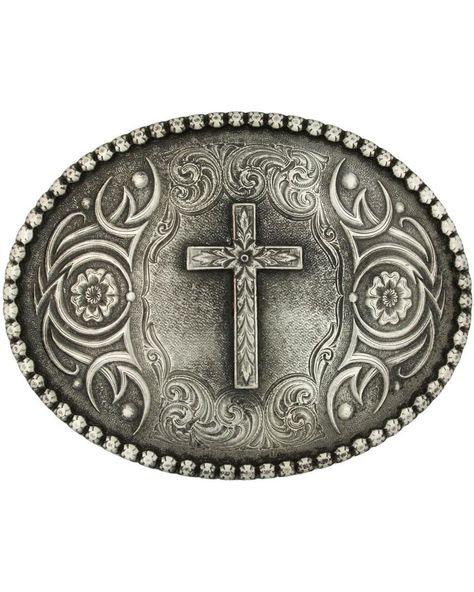 Nocona Silver Gold Cross Gürtelschnalle Western Buckle Cowboy USA