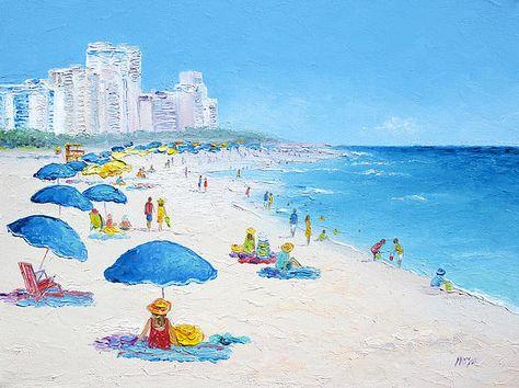 Miami Beach Umbrellas Beach Art Beach Canvas Art Beach Artwork