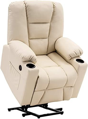 New Mcombo Electric Power Lift Recliner Chair Sofa Vibration Massage Heat Elderly 3 Positions 2 Side Pockets Cup Holders Usb Charge Ports 7509 Cream Whi In 2020 Recliner Chair Leather Living