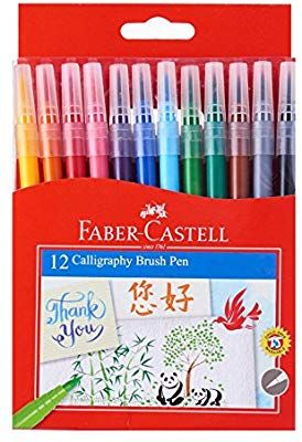 Amazon Com Faber Castell Calligraphy Brush Pen 12 Colors Brush