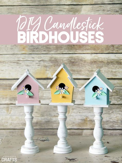 Make your own beautiful spring decor DIY with this step by step tutorial. These pastel candlestick birdhouses are perfect for livening up any room! home decor diy Spring Decor DIY: Pastel Candlestick Birdhouses - Consumer crafts Spring Home Decor, Spring Crafts, Birdhouse Craft, Birdhouses, Bird Houses Diy, Diy Ostern, Deco Table, Handmade Home Decor, Easter Crafts