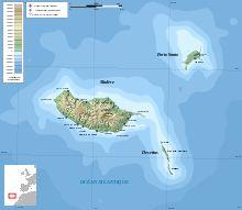 Carte topographique de l'archipel de Madère sans les îles Selvagens.
