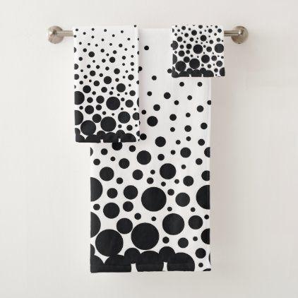 White Black Polka Dot Bath Towel Set Zazzle Com In 2020 Towel