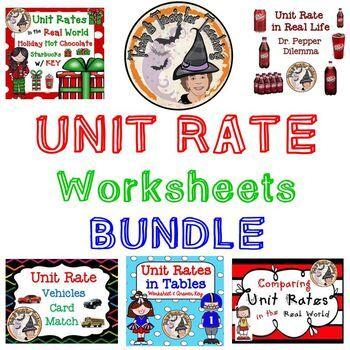 Unit Rate Bundle Worksheets Card Match Activity Real World Unit