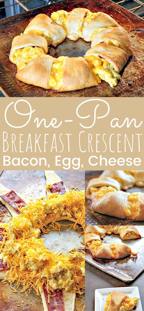 This delicious brunch one pan bacon, egg, and cheese breakfast crescent is super easy to bake. The perfect egg recipe for Easter brunch or breakfast anytime. Easy breakfast Crescent Ring recipe! - simplytodaylife.com #BreakfastCrescent #EggCrescent #OnePanBreakfast #EasterBrunch #EggBreakfast