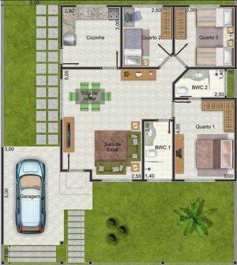 Planos Para Casas De 3 Recamaras