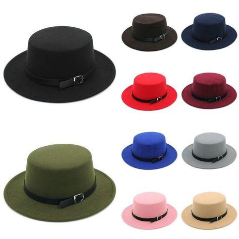 Men Women Flat Dome Fedora Hat Oval Bucket Top Bowler Pork Pie Sun Hat with Fashion Ribbon Band