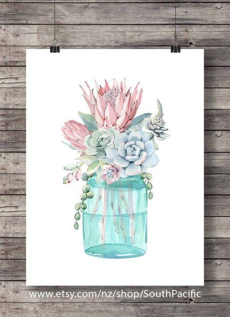 Digital art | bouquet de fleurs en aquarelle cactus succulentes impression | Impression d'art décor aquarelle | Art mural imprimable Mason jar | Aquarelle 16 x 20 impression, facilement redimensionnée à 8 x 10 et fin à imprimer au format A3 ou A4. FAIT AVEC AMOUR ♥