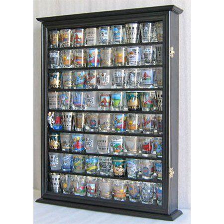 100 Shot Glass Display Case Wall Cabinet Shadow Box SC15-MAH Mahogany Finish