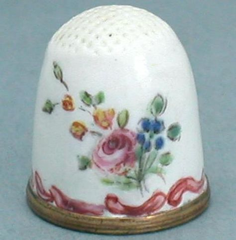 Antique Bilston Staffordshire Hand Painted Enamel Thimble; Circa 1770