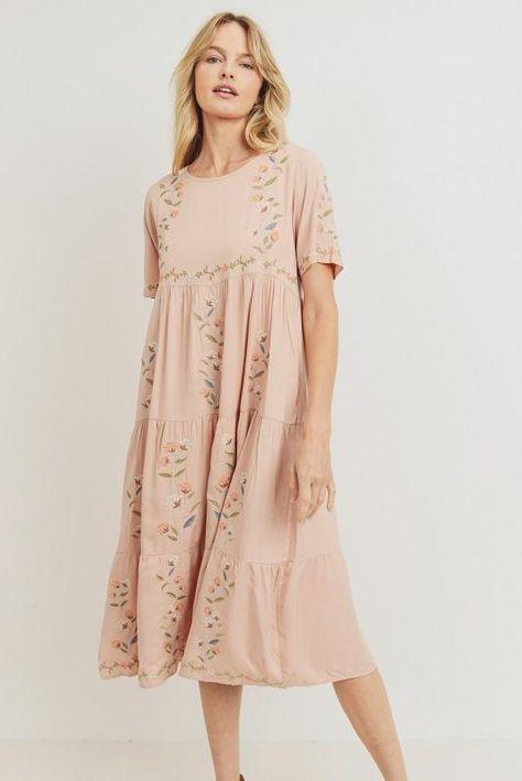 Sabrina modest midi dress in blush - M