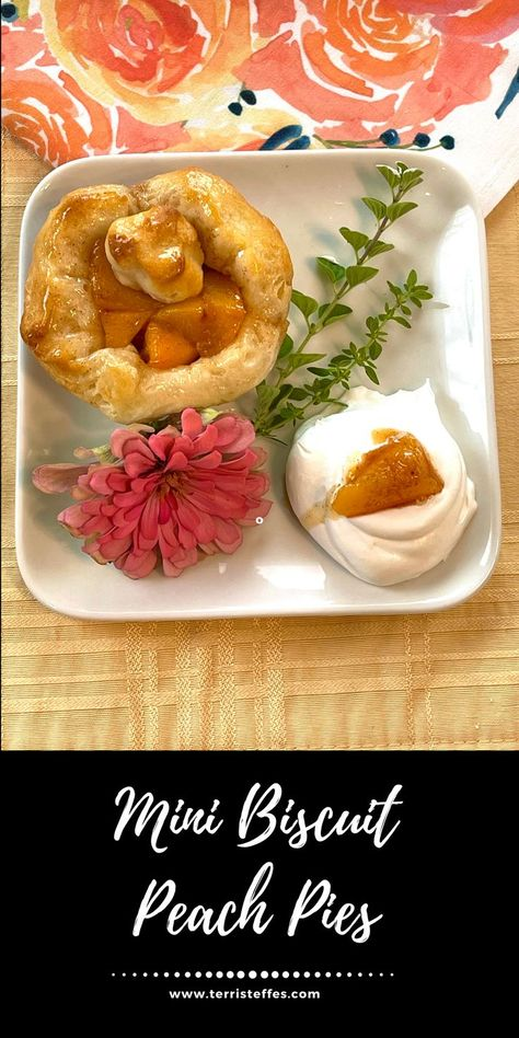 These little pies were created from canned biscuit dough! They are yummy and so easy to make, but look at how cute they are! A few fresh peaches coated in brown sugar and cinnamon and you have a pie!